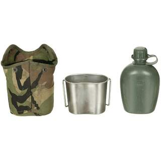 NL Canteen - fabric cover - Alise clips - NL camo - drinking cup - used